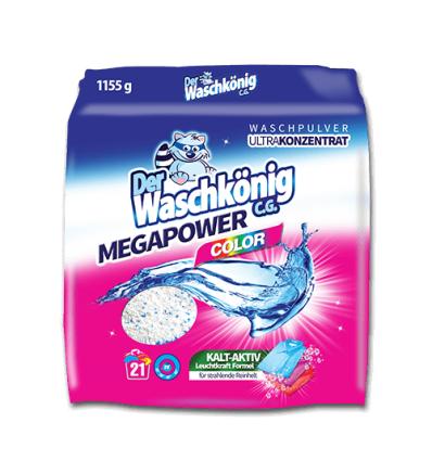 Der Waschkonig proszek do prania Mega Power Color 1155 g 21 prań